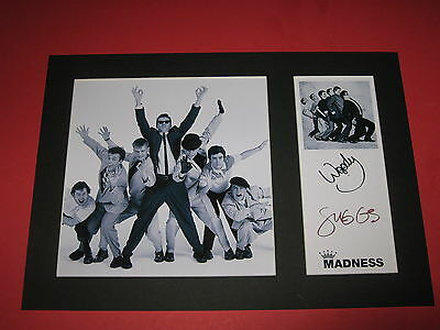 Madness A4 Photo Mount Signed Reprint Autographs Suggs & Woody Ska