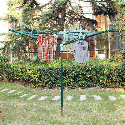 4 Arm 40M Rotary Outdoor Washing Line Airer Clothes Dryer + Free Cover & Spike