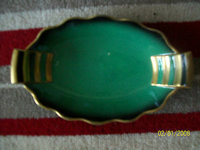 VINTAGE  c1930 GREEN & GOLD ART DECO OVAL DISH CARLTON WARE DOUBLE HANDLED