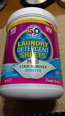 S2O Laundry Detergent Sheets Plus Stain Remover Booster, Fresh Scent, 100 Loads