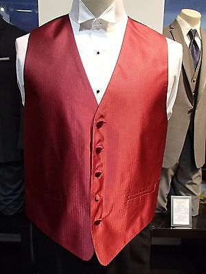 "Mens Cardi Collection Claret Red color ""Herringbone"" Pattern Formal Tuxedo Vest"