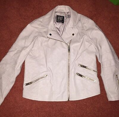 River Island Girls Cream Leather Look Jacket Age 10 Years