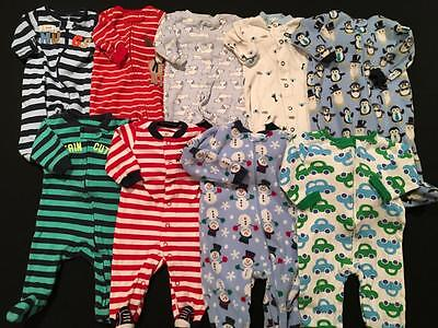 Baby Boys Size Newborn, 0-3, 3 Months Carters Christmas Sleepers Clothes Lot B18