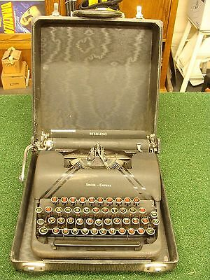 Vintage Sterling Smith Corona Typewriter with Case Floating Shift Portable Black