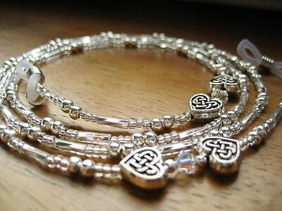 Silver Spectacles Glasses Chain -  Silver Celtic Heart & Crystal Handmade UK