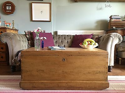 Antique PINE CHEST, Wooden Blanket BOX, Coffee TABLE, Old Storage TRUNK & TRAY!!
