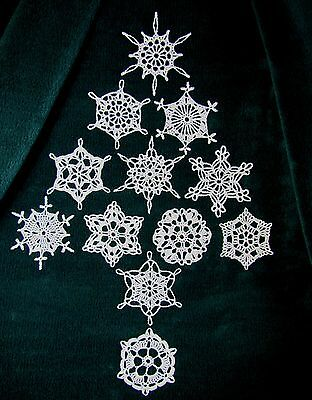 12 New Hand Crocheted White Snowflake Ornaments. Beautiful Quality!