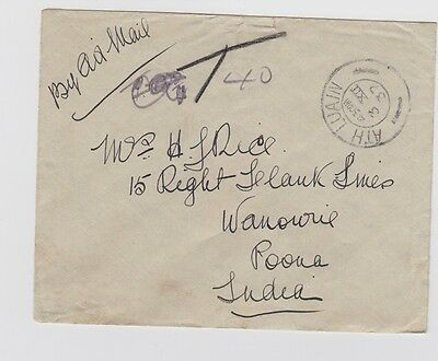 Ireland 1937 air mail to India - no stamps - no postage due charged