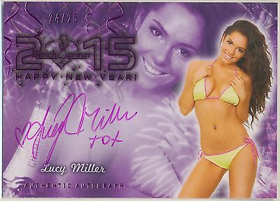 Lucy Miller * 2015 Benchwarmer Happy New Year * Autograph * Pink 24/25 * Playboy