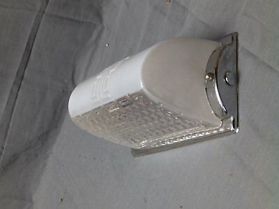 Vtg Over Mirror Chrome Sconce Glass Shade Old Art Deco Light Fixture 2311-16