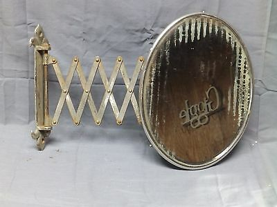 Antique Nickel  Accordion Beveled Oval Shaving Makeup Mirror Old Vtg 2312-16