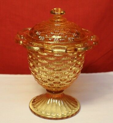 Imperial Glass Co. Round Lattice Basket weave Pattern Covered Dish