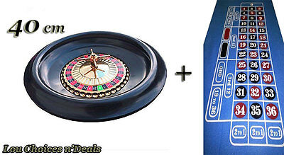Roulette Wheel Casino Spin Home Game Play Large 40 cm Blue Layout Felt 2 Balls