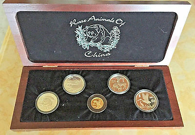 1982 - 1992 Rare Animals of China 5 Coin Set. 4 Silver and one Gold Proof Coins