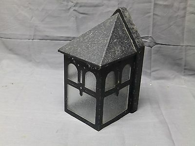Vtg Porch Light Fixture Sconce Arts Crafts Cabin Pebbled Glass Panels 2314-16