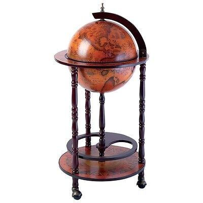 "Wine Globe With O:ld World  Map Of Earth Antique Style 35.5"" Tall 17.5"" Wide"