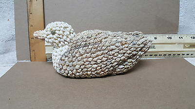 1980S Vintage Large Duck Figurine Made Of Tiny Seashells Philippines / New !!