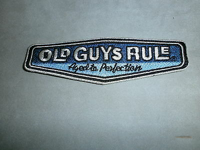 """Old Guys Rule """" Aged To Perfection """" 1.25"""" X 4.5"""" Embroidered Fabric Patches"""