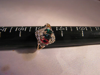 "14K Gold Filled 8"" Ring With Red/green/clear Rhinestones"