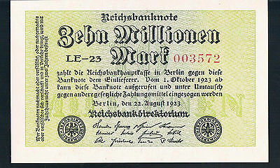 GERMANY BANKNOTE 10 MILLION P106a 1923 aUNC