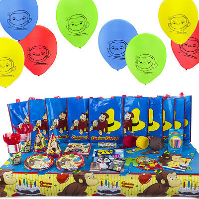 Curious George All-in-One Birthday Kit Party Set Includes 10 Filled Loot Bags
