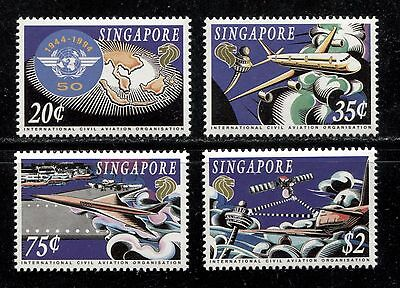 CIVIL AVIATION ORG. 50TH ANNIVERSARY, ICAO, OACI  SINGAPORE 1994 Sc 703-706, MNH