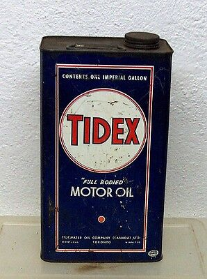 Rare Vintage TIDEX Tidewater oil tin can imperial gallon