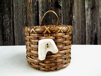 Handmade Reed Basket With Antler Embellishment, Quill-108
