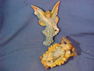 2-1930s LARGE Christmas NATIVITY FIGURES Hand Painted JESUS + ANGEL