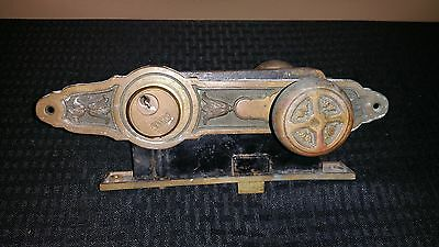 Antique Vintage Brass Door Knob & Lock Yale Ornate Front Main Entrance