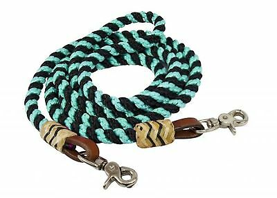 Showman 8' TEAL Rolled and Braided Nylon Barrel Reins With Rawhide Accents!