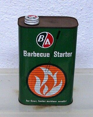Vintage British American B/A charcoal lighter fluid bbq barbecue starter tin can