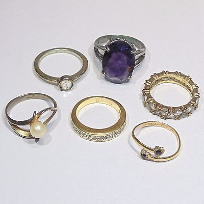 Vintage/preowned costume jewelry lot of 6 rings, sizes 6.5-8.5, some with stones