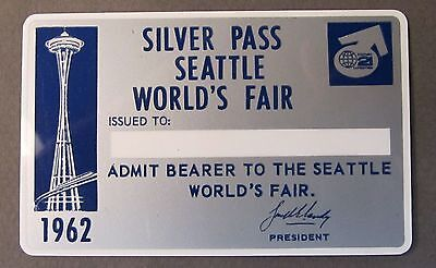 VERY rare 1962 Seattle Worlds Fair SILVER PASS never issued unused MINT
