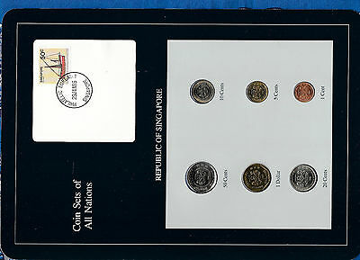 Coin Sets of All Nations Singapore UNC 1986-1988 $1,5 cents 1988 50,20,10 1987