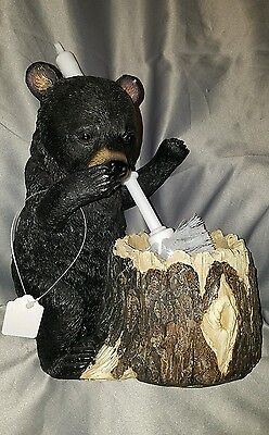 Toilet Bowl Brush Holder Stand Black Bear Cub Whimsical Country Bathroom Decor
