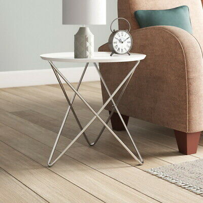 Marco Round Side/End/Lamp/Coffee Table, Wooden, White-WST04W/W