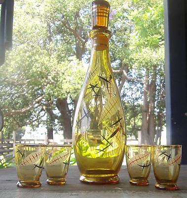 vintage bohemian glass decanter with ground glass stopper and glasses