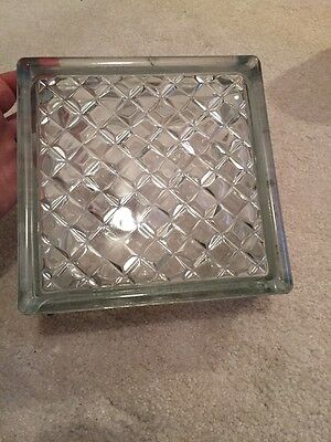 "ARCHITECTURAL GLASS BLOCK 7 3/4"" Square, 3 1/8"" Thick VINTAGE MADE IN W. GERMANY"