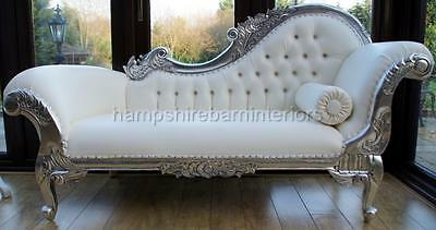 Ornate Chaise Longue Lounge Sofa Silver Leaf French White Faux Leather Crystal