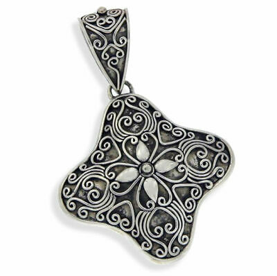 Beautiful Antique Design HEAVY Solid Sterling Silver Flower Cluster Pendant»P314