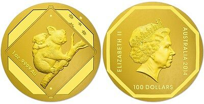 1 oz 2015 The Australian Koala Finished in 999 24k Gold Coin LIMITED MINT RARE