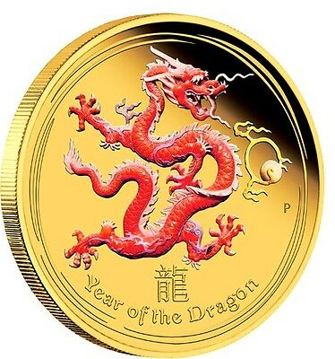 1 oz Limited Edition Year of the Dragon Colourised Finished in 999 24k Gold Coin