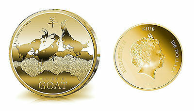 1 oz 2015 Niue Canada Year Of The Goat Finished in 999 24k Gold Coin