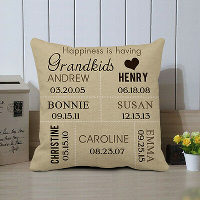 Christmas Gift for Grandma Custom Pillow Cover Personalized Grandkids Name Case