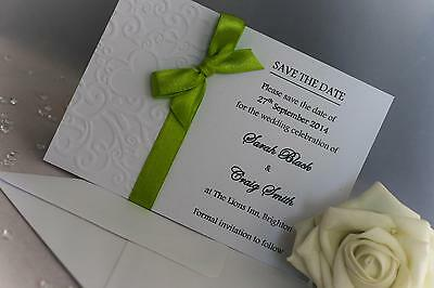 Save The Date Card SAMPLE - Embossed Handmade with Organza or Satin Ribbon