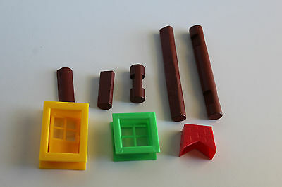 About 3.5 lbs pounds of vintage wooden lincoln logs parts pieces building toy pl