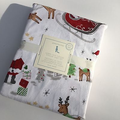 New Pottery Barn Kids NORTH POLE toddler FLANNEL SHEET SET christmas 3 piece NWT