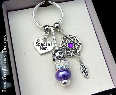 Beautiful Purple SPECIAL NAN Dream Catcher AB Crystal Keyring Key Ring