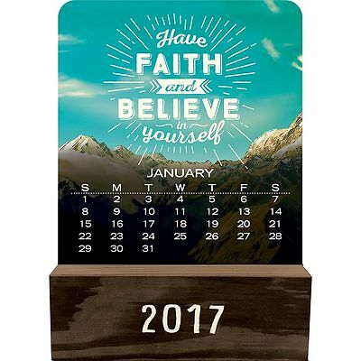 Words to Live By 2017 Wood Block Calendar NEW by Orange Circle